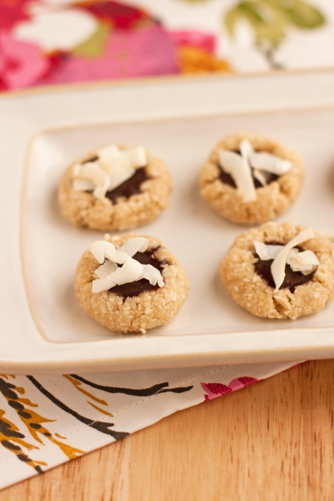 raw coconut chocolate thumbprint cookies1