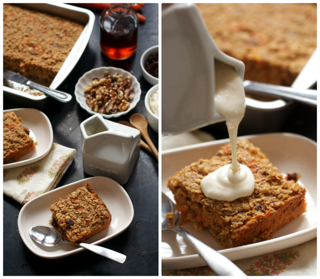 Carrot Cake Baked Oatmeal with Cream Cheese Topping